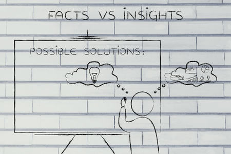 insights: facts vs insights: man writing on blackboard while elaborating creative thoughts (right side of his brain) and analytical reasonings (his left side)