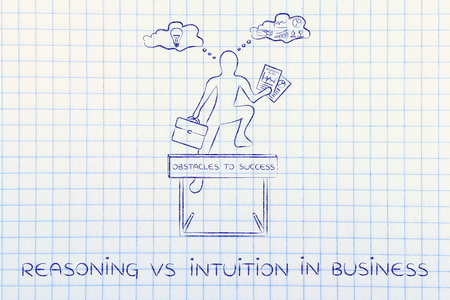 analytical: reasoning vs intuition in business: businessman overcoming obstacle by elaborating creative thoughts (right side of his brain) and analytical reasonings (his left side)