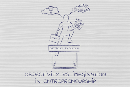 objectivity: objectivity vs imagination in entrepreneurship: businessman overcoming obstacle by elaborating creative thoughts (right side of his brain) and analytical reasonings (his left side)