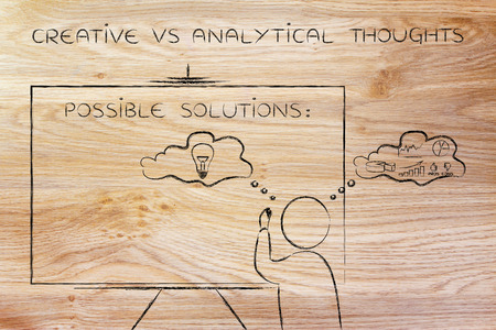 analytical: creative vs analytical thoughts: man writing on blackboard while elaborating imaginative thoughts (right side of his brain) and logical reasonings (his left side)