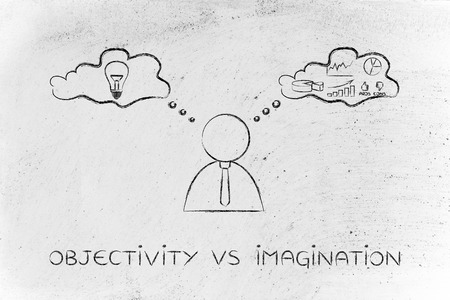 reasonings: objectivity vs imagination: thoughtful businessman elaborating creative thoughts (right side of his brain) and analytical reasonings (his left side)