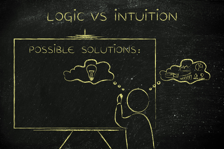 reasonings: logic vs intuition: man writing on blackboard while elaborating creative thoughts (right side of his brain) and analytical reasonings (his left side) Stock Photo