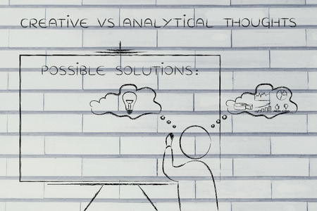 reasonings: creative vs analytical thoughts: man writing on blackboard while elaborating imaginative thoughts (right side of his brain) and logical reasonings (his left side)