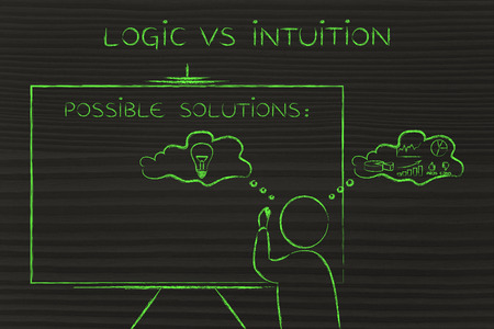 intuition: logic vs intuition: man writing on blackboard while elaborating creative thoughts (right side of his brain) and analytical reasonings (his left side) Stock Photo