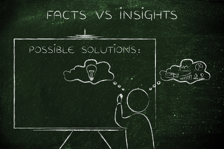 reasonings: facts vs insights: man writing on blackboard while elaborating creative thoughts (right side of his brain) and analytical reasonings (his left side)