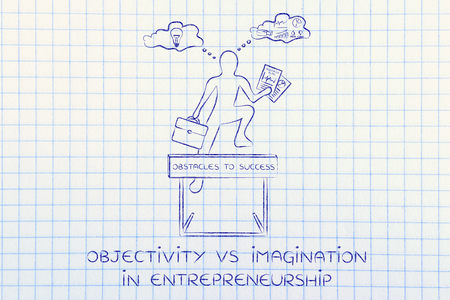 reasonings: objectivity vs imagination in entrepreneurship: businessman overcoming obstacle by elaborating creative thoughts (right side of his brain) and analytical reasonings (his left side)
