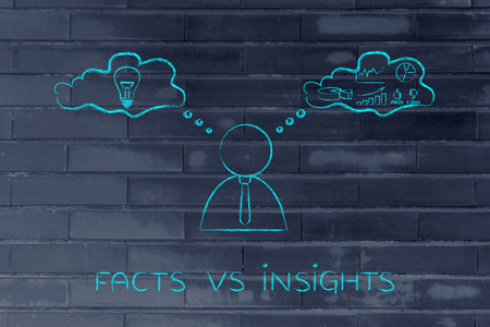 insights: facts vs insights: thoughtful businessman elaborating creative thoughts (right side of his brain) and analytical ones (his left side)