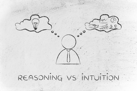 analytical: reasoning vs intuition: thoughtful businessman elaborating creative thoughts (right side of his brain) and analytical ones (his left side)