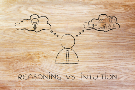 reasoning: reasoning vs intuition: thoughtful businessman elaborating creative thoughts (right side of his brain) and analytical ones (his left side)