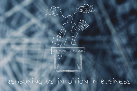 business obstacle: reasoning vs intuition in business: businessman overcoming obstacle by elaborating creative thoughts (right side of his brain) and analytical reasonings (his left side)