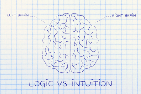 intuition: logic vs intuition: flat illustration of a brain with left and right caption