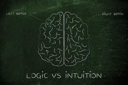 reasoning: logic vs intuition: flat illustration of a brain with left and right caption