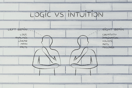 intuition: logic vs intuition: people looking towards opposite directions with captions left and right brain and detailed functional descriptions