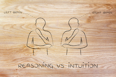 intuition: reasoning vs intuition: people looking towards opposite directions with captions left and right brain Stock Photo