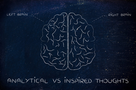 analytical: analytical vs inspired thoughts: flat illustration of a brain with left and right caption