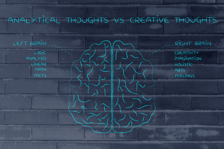 brain function: analytical thoughts vs creative thoughts: flat illustration of a brain with left and right caption and detailed function descriptions
