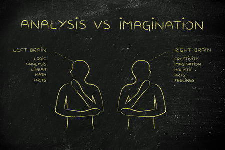 objectivity: analysis vs imagination: people looking towards opposite directions with captions left and right brain and detailed functional descriptions