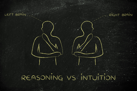 reasoning: reasoning vs intuition: people looking towards opposite directions with captions left and right brain Stock Photo
