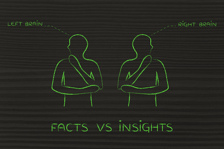 insights: facts vs insights: people looking towards opposite directions with captions left and right brain