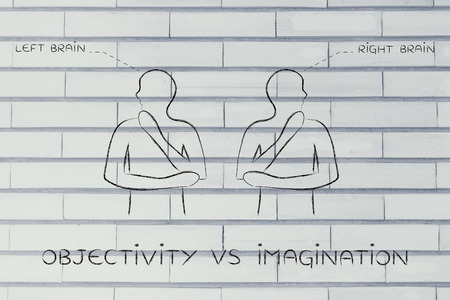 objectivity: objectivity vs imagination: people looking towards opposite directions with captions left and right brain