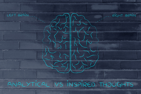 objectivity: analytical vs inspired thoughts: flat illustration of a brain with left and right caption