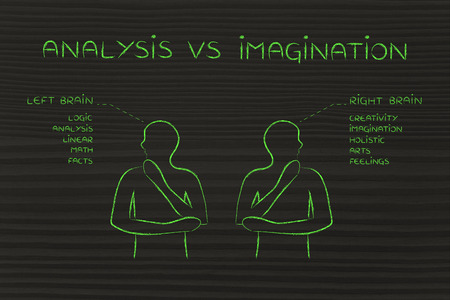 reasoning: analysis vs imagination: people looking towards opposite directions with captions left and right brain and detailed functional descriptions