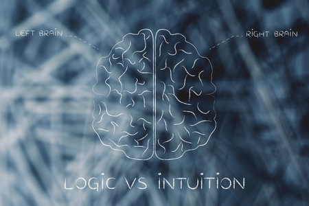l�gica: logic vs intuition: flat illustration of a brain with left and right caption