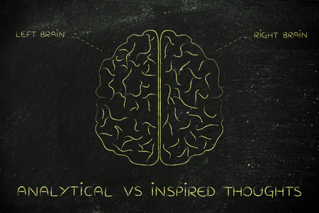 reasoning: analytical vs inspired thoughts: flat illustration of a brain with left and right caption