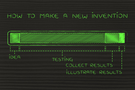 objectivity: how to make a new invention: steps on progress bar with a long testing phase Stock Photo