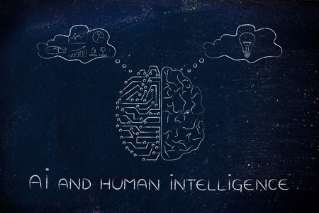AI and human intelligence: artificial intelligence and brain comparison design, different thought bubbles with data processing vs intuition Banque d'images