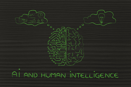 objectivity: AI and human intelligence: artificial intelligence and brain comparison design, different thought bubbles with data processing vs intuition Stock Photo