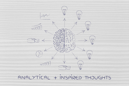 analytical: analytical plus inspired thoughts: artificial intelligence and human brain surrounded by data processing and ideas with arrows pointing out