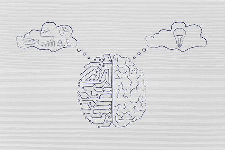 objectivity: artificial intelligence and human brain comparison design, different thought bubbles with data processing vs intuition