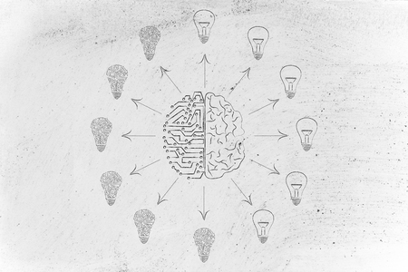 objectivity: artificial intelligence and human brain surrounded by circuit and normal lightbulbs (ideas) with arrows pointing out Stock Photo