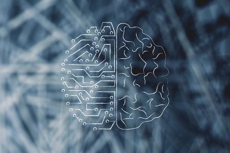 La inteligencia artificial y el diseño de comparación cerebro humano Foto de archivo - 58598099