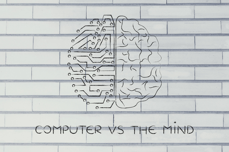 objectivity: computer vs the mind: artificial intelligence and human brain comparison design Stock Photo