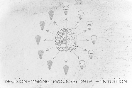 intuition: decision-making processes data plus intuition: artificial intelligence and human brain surrounded by circuit and normal lightbulbs (ideas) with arrows pointing out