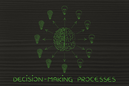 decisionmaking: decision-making processes: artificial intelligence and human brain surrounded by circuit and normal lightbulbs (ideas) with arrows pointing out Stock Photo