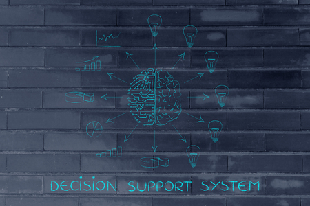 objectivity: decision support system: artificial intelligence and human brain surrounded by data processing and ideas with arrows pointing out Stock Photo