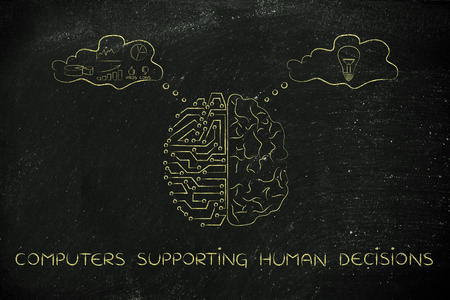 intuition: computers supporting human decisions: artificial intelligence and brain comparison design, different thought bubbles with data processing vs intuition Stock Photo
