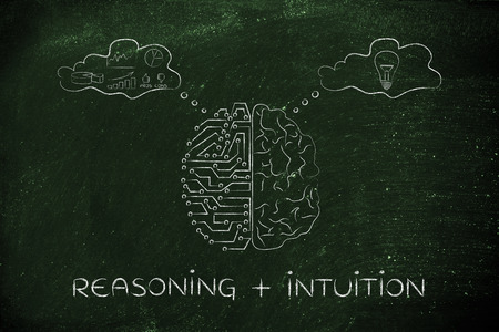 objectivity: reasoning plus intuition: artificial intelligence and brain comparison design, different thought bubbles with data processing vs ideas