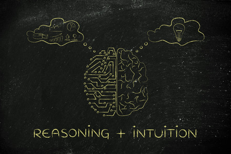 reasoning: reasoning plus intuition: artificial intelligence and brain comparison design, different thought bubbles with data processing vs ideas