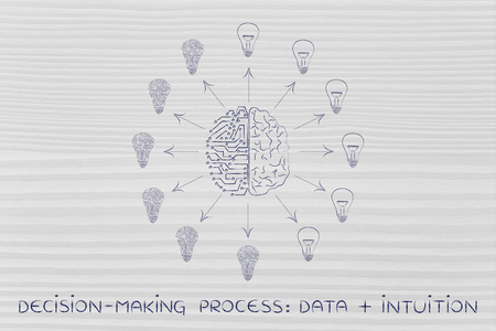 objectivity: decision-making processes data plus intuition: artificial intelligence and human brain surrounded by circuit and normal lightbulbs (ideas) with arrows pointing out