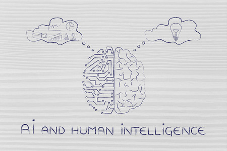intuition: AI and human intelligence: artificial intelligence and brain comparison design, different thought bubbles with data processing vs intuition Stock Photo