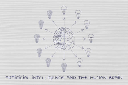 merged: artificial intelligence and human brain merged and surrounded by circuit and normal lightbulbs (ideas) with arrows pointing out