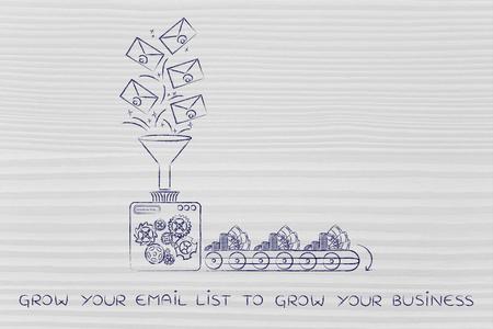Haga crecer su lista de correo electrónico para hacer crecer su blog: los boletines de noticias se convierten en dinero en efectivo, la metáfora de la máquina de fábrica