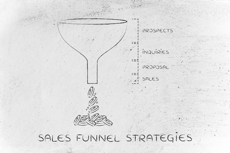 sales funnel strategies: Prospects Inquiries Proposal Sales version with coins dropping out