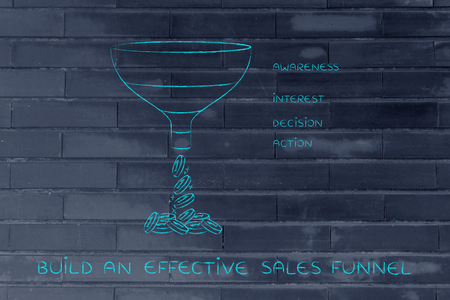 build an effective sales funnel, with Awareness Interest Decision Action sections Stock Photo