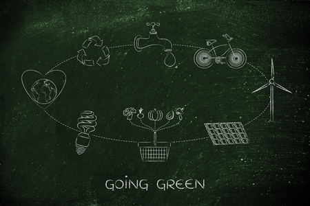 going green: going green: diagram with daily steps to protect the environment by saving energy, recycling and eating local