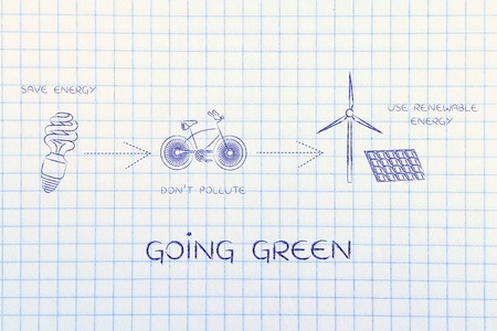 social behaviour: going green: illustration with icons about saving energy, preventing pollution and using reneawable energy (lightbulb, bicycle & wind turbine with solar panels)
